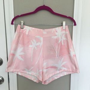 • Sabo Skirt Pink & White Palm Tree Shorts •
